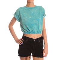 Hearts & Bows Blue Baraboo Acid Wash Crop Top