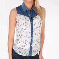Blu Pepper Juniors Sheer Button Down Tank with Denim Trim at Von Maur