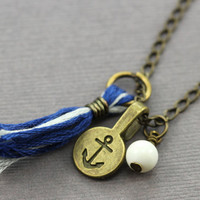 Nautical Anchor Necklace : Antique Gold Brass Nautical Necklace with White Swarovski Pearl, Anchor Charm, Blue and White Tassel