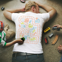 Size XL - Railroad Play Mat T-Shirt : Playtime for Kids, Back Massage for Dad / Fathers Day Gift New Daddy Father Son Train Track Mat
