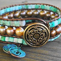 Freshwater Pearl and Sleeping Beauty Turquoise Leather Wrap Bracelet | GemOnAWire - Jewelry on ArtFire