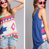 Large Tribal Print Tank with Blue Back