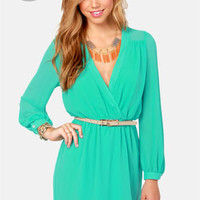 LULUS Exclusive Under Wraps Aqua Wrap Dress