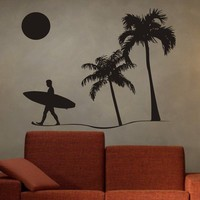 Surfer and Beach Scene Decal Sticker Wall by dabbledownJunior