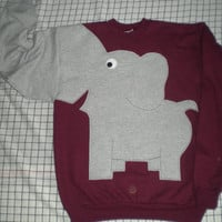 Fun Elephant Trunk sleeve sweatshirt UNISEX S Maroon Burgundy