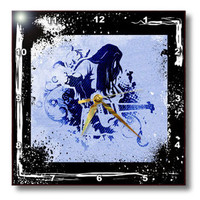 3dRose  - Spiritual Awakenings Music - Rock and roll guitar player art with grunge frame and highlights - Wall Clocks