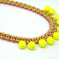 Neon Bib Statement Pink Yellow and neon pearls  -  14k Gold plated  and Braided necklace