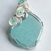 Sea Glass Beach Glass Necklace Pendant  in by WindysDesigns