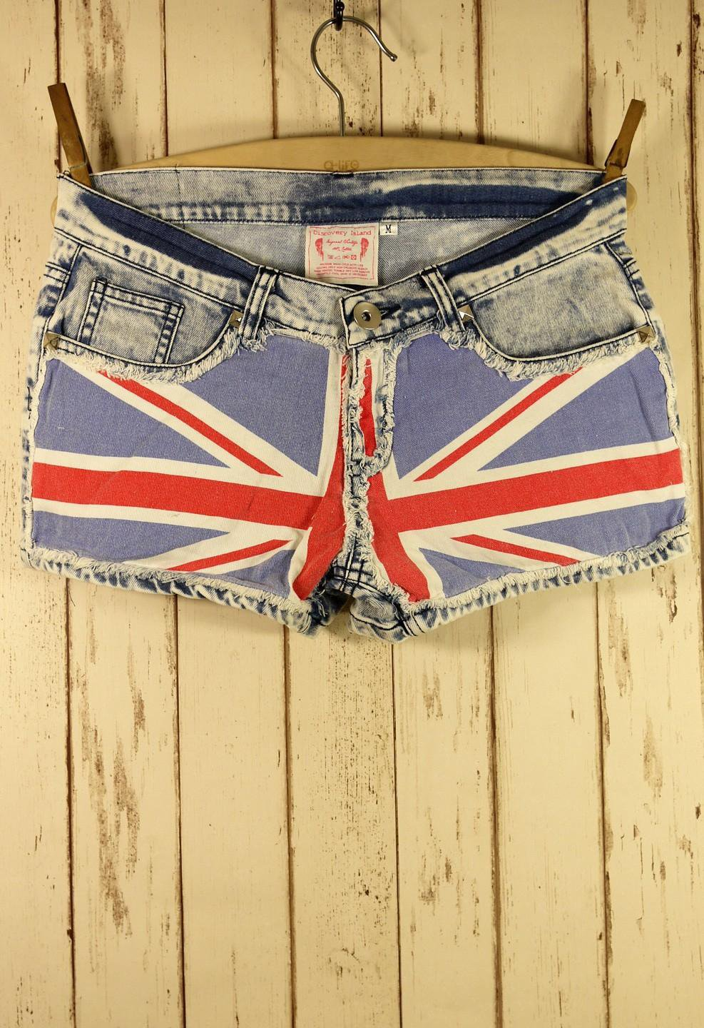 Great Britain Flag Washed Denim Shorts on LoLoBu