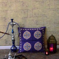 Purple Blue Pillow, Moroccan Pillow, Vintage Pillow, Cotton Pillow Cover