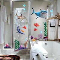 Finding Nemo Wall Stickers Sharks and Fish's Live Sea Removable