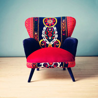 Patchwork armchair with Suzani, Thai Hmong and velvet fabrics - Summer
