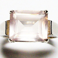 "Pink quartz ring,  milky quartz ring,  s 7 1/2    ""Pink Cotton"""