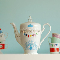 SECONDS SALE Very large peacock, birds and bunting teapot