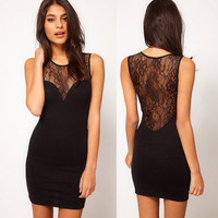Black Sexy Lace Cultivate Sleeveless Dress