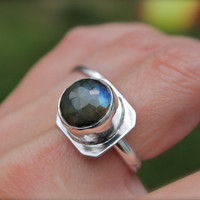 Labradorite Ring. Sterling silver. Big ring. Big stone. Rose cut stone. Statement Piece. Blue Flashes.