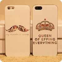 Cute Mustache and Crown Case for iPhone