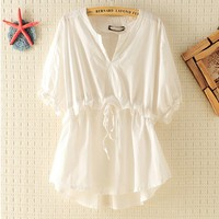 Lace-up V-neck Slim Shirt