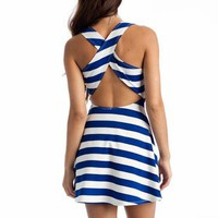striped cross back dress $21.90 in BLUE RED - Casual | GoJane.com