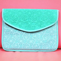 Tass Floral Lace iPad Clutch