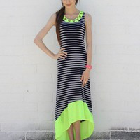 Neon Trim Stripe Hi-Low Dress- Green
