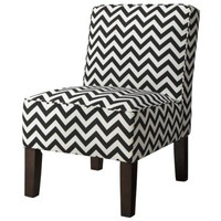 Burke Armless Slipper Chair - Black Chevron