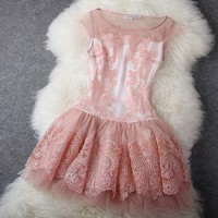 Flower skirt embroider dress
