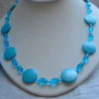 Blue Acrylic and Blue Clear Glass Bead by PattysDreamDesigns