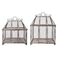 UN GIARDINO LIBERTY: Set di 2 gabbiette decorative in metallo ANNE - max 44X33X58 cm