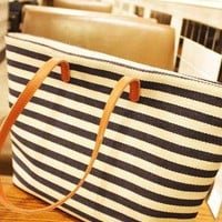 Navy Style Stripe Shoulder Bag