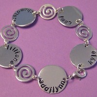 Family Handstamped Bracelet Up to 5 names by thirtyoneshekels