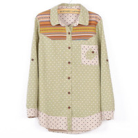 Tribal Pattern Wave Points Embroidery Long Shirt