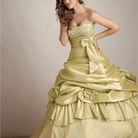Elegant Bow Blet Hollow Back Ball Gown Quinceanera Dress QD0101
