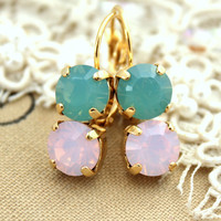Rhinestone earrings Pink Mint opal bridesmaids earrings - 14k Gold plated real Swarovski rhinestones