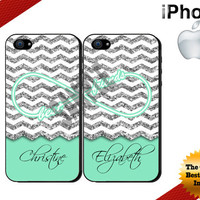 Best Friends iPhone Case, iPhone 4 Case,iPhone 5 Case Glittery Mint Chevron Personalized iPhone Case - Two Case Set (NOT ACTUAL GLITTER)