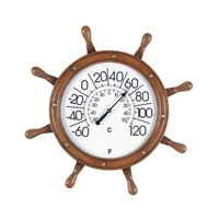 RAM Gameroom Captains Wheel Outdoor Thermometer - ODR303 - All Wall Art - Wall Art & Coverings - Decor