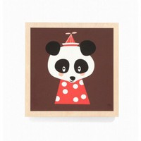 ferm LIVING Posey Panda Wooden Picture - 3025 - All Wall Art - Wall Art & Coverings - Decor