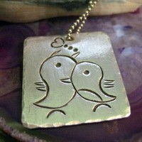 One Inch Sterling Silver Love Birds Pendant | PurpleMoonGifts - Jewelry on ArtFire