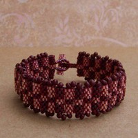 Burgandy Peyote Patch Bracelet | LuckyCharm - Jewelry on ArtFire