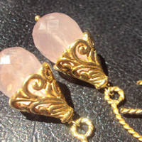 Rose Quartz Gold Filled Dangle Earrings Angel by amandalynneLUXE