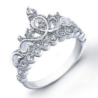 Sterling Silver Crown Ring / Princess Ring