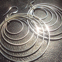 Sterling Silver Dangling Multi Layered Hoop by amandalynneLUXE