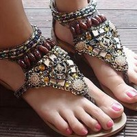 wishlove — 2013 new fashion retro Bohemian rivet bead flat sandals Gladiator Shoes