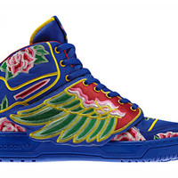 Men's Adidas Jeremy Scott Embroidery Flower-Blue [adidas13021903] :