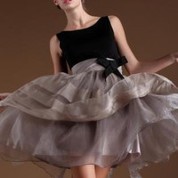 Elegant Pompon Dress with Bow  S003020