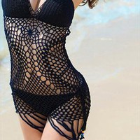 Sexy Crochet Loose Tassel Bikini Swimsuit- Black from SarahHunt