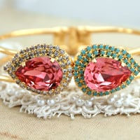 Peach pink Rhinestone Bracelet with turquoise and white crystals - 14k plated gold Swarovski Crystals Bracelets