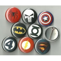 "Super Hero Logos Lot of 8 1"" Pinback Buttons/Pins"