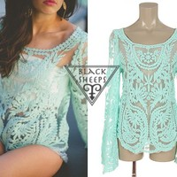 Mint lace long sleeve shirt from Blacksheeps!