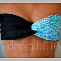 Etsy Transaction -          Mint Black Tribal Bandeau Top Spandex Bandeau Bikini Swimsuit